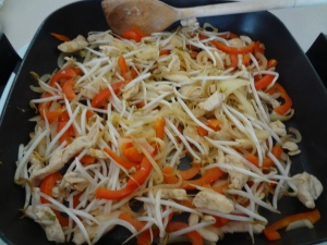 Add beansprouts and cook for a further 2 mins.